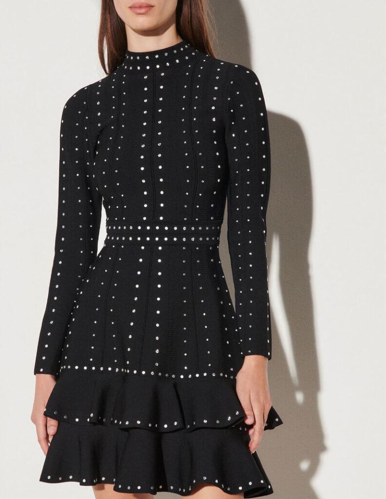 Short knit dress with rhinestones (207€ au lieu de 345€)